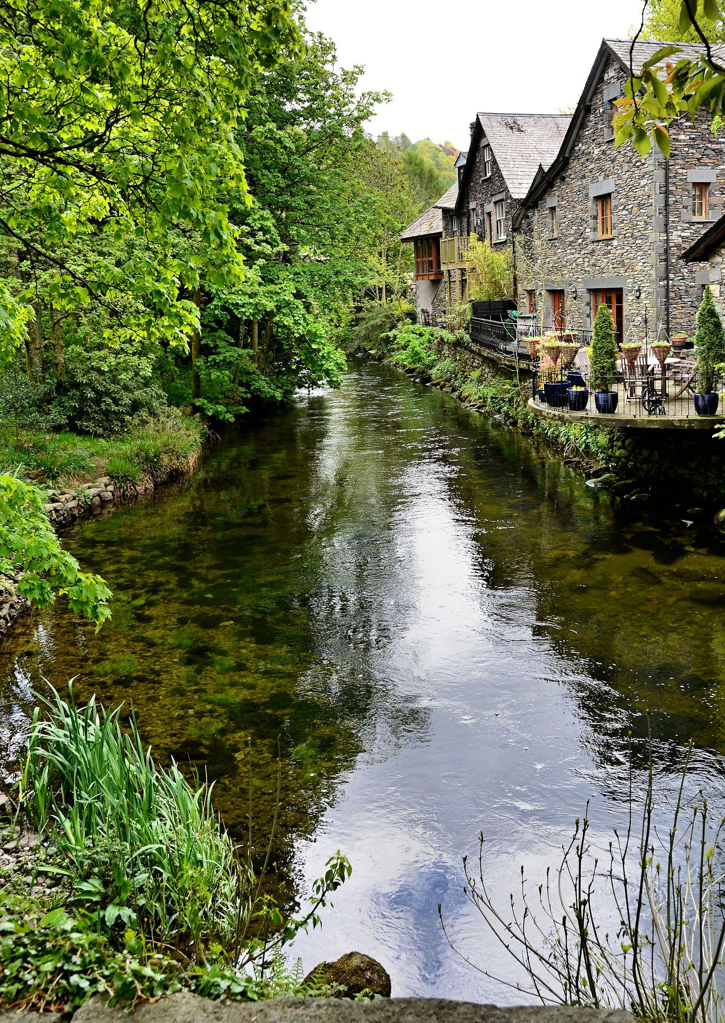 The River Rothay flowing through Grasmere in the Lake District.