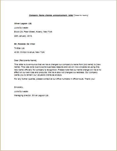 letter informing customers change company name cover template