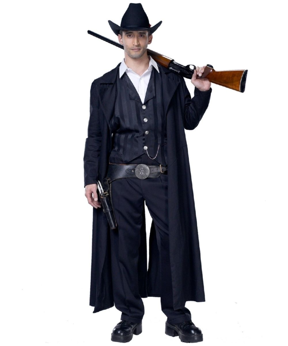 Gunfighter Cowboy Outlaw Sheriff Western Fancy Dress Up Halloween Adult Costume
