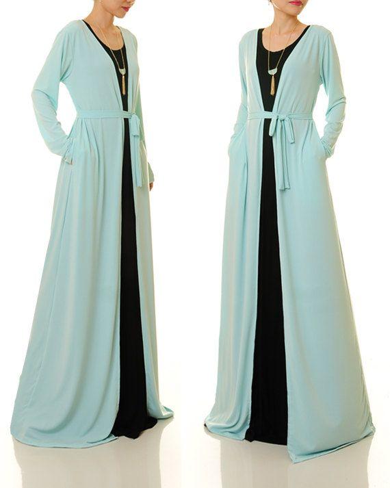 new style 500d3 317a7 Kimono-Cardigan blau   Lange Duster Strickjacke   Lange ...