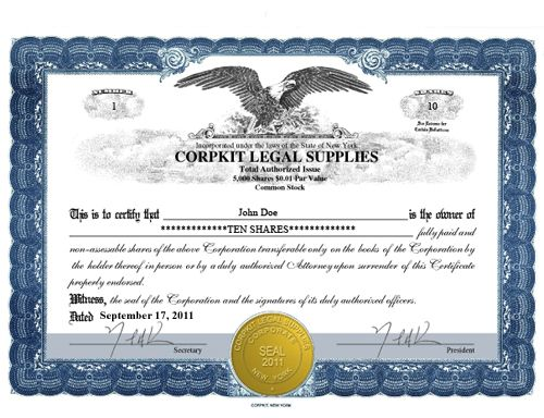 Stock or membership certificates emailed to you in PDF format You - Corporate Certificate Template