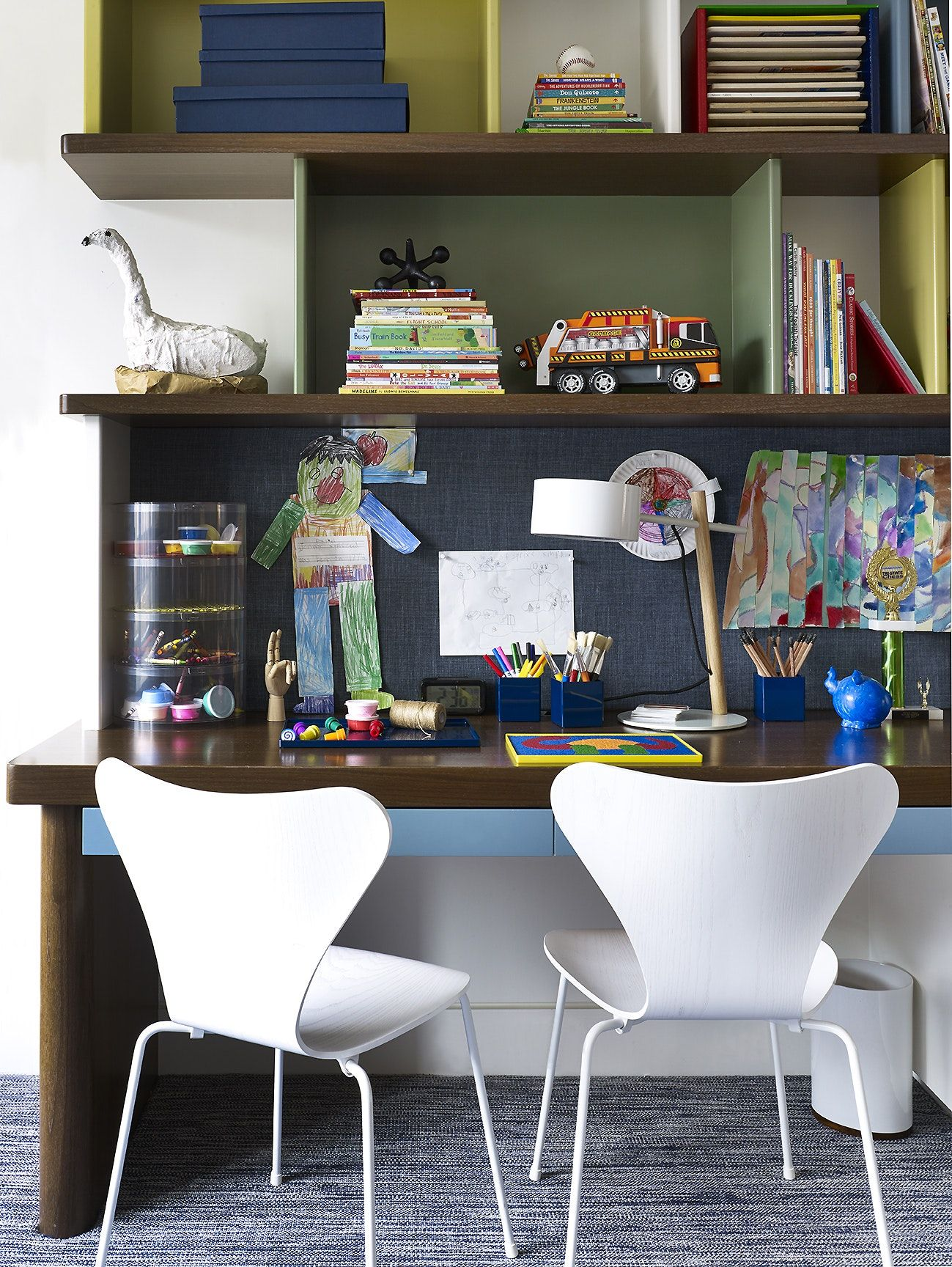 79th St Apartment Modern Study Desk Open Shelving Over Kid S Work Space By Douglas C Wright Archi Home Office Furniture Office Inspiration Furniture Design