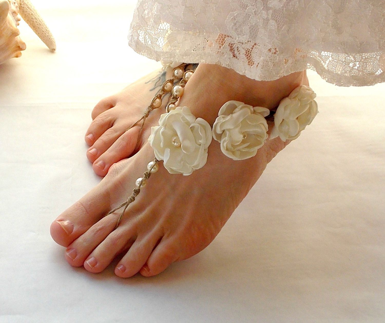 Barefoot Sandals Bridal Beach Wedding Shoes Garden Jewelry Hemp Toe Thong Ivory