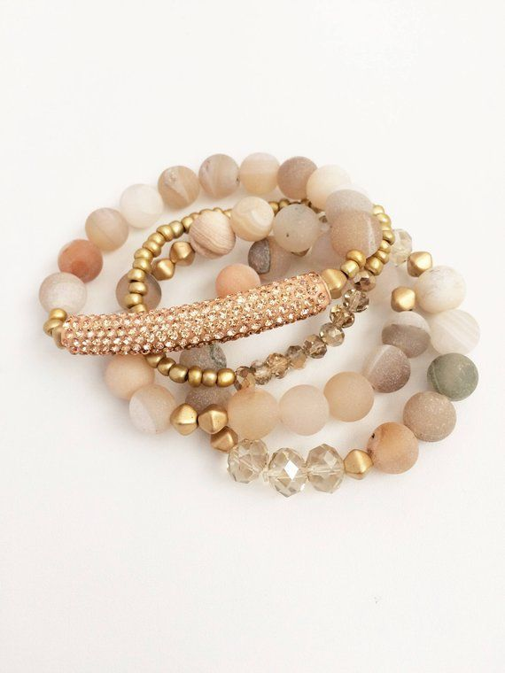 Photo of Natural Stone Bracelet Set   Stack Bracelet Set   Stretch Bracelet Set   Boho Jewelry   Bohemian Jewelry   Beaded Bracelets   Bead Bracelet