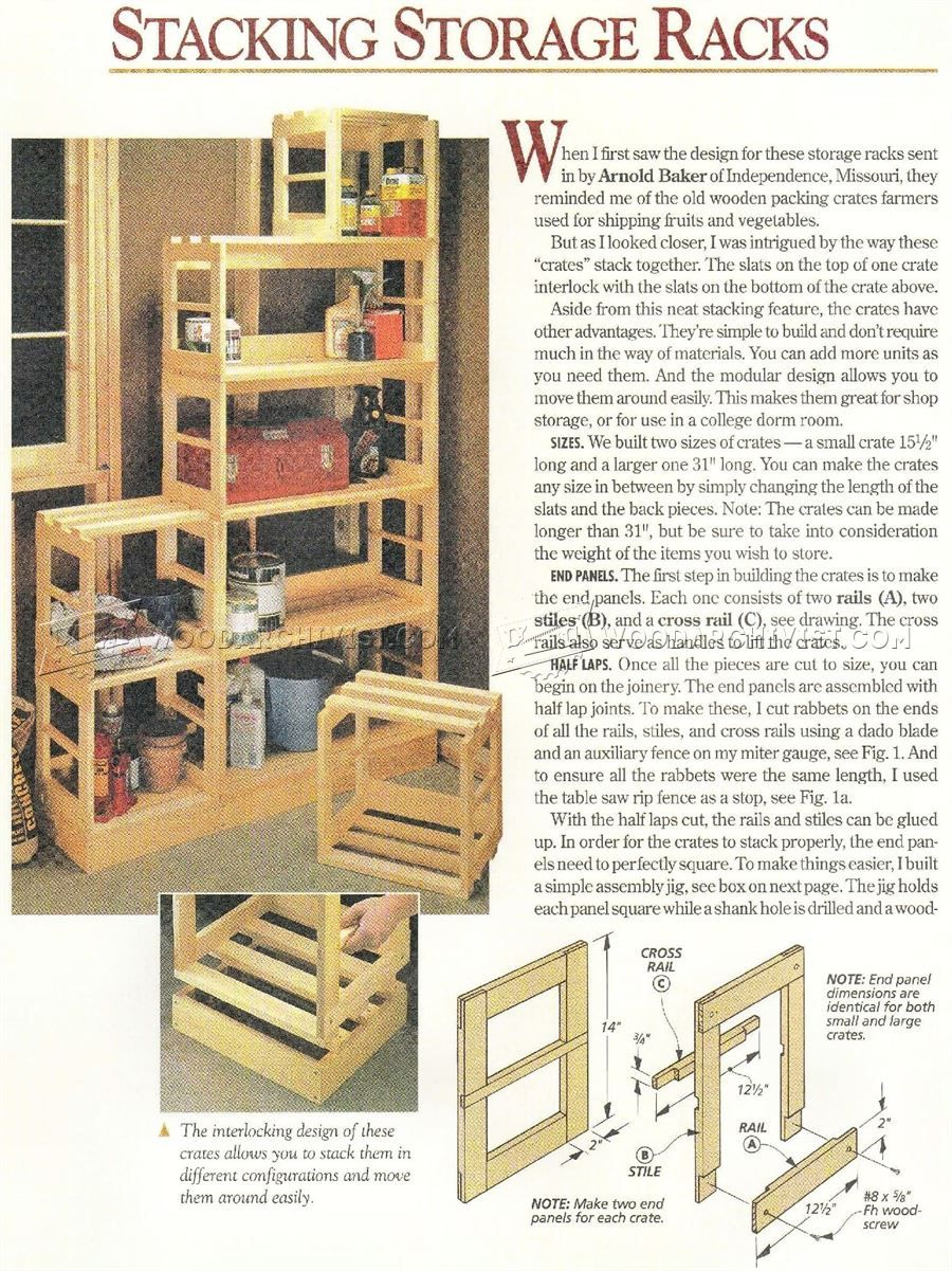 2580 Stacking Storage Rack Plans Woodworking Work Solutions