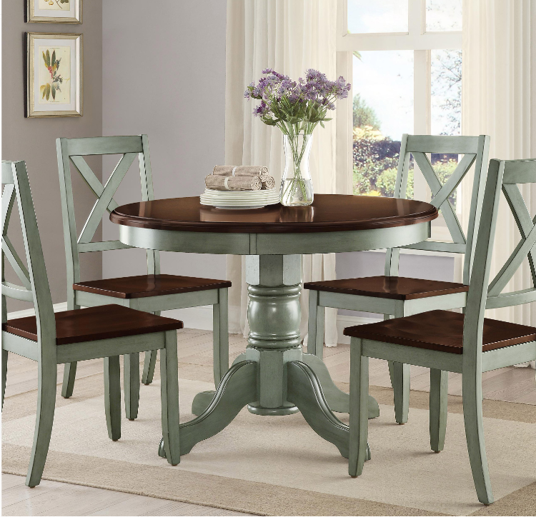 Details About Round Pedestal Dining Table Set 4 Chairs Brown Green