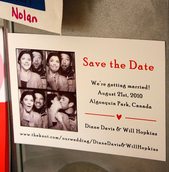 Diane and Will: custom photo-booth save the date magnet