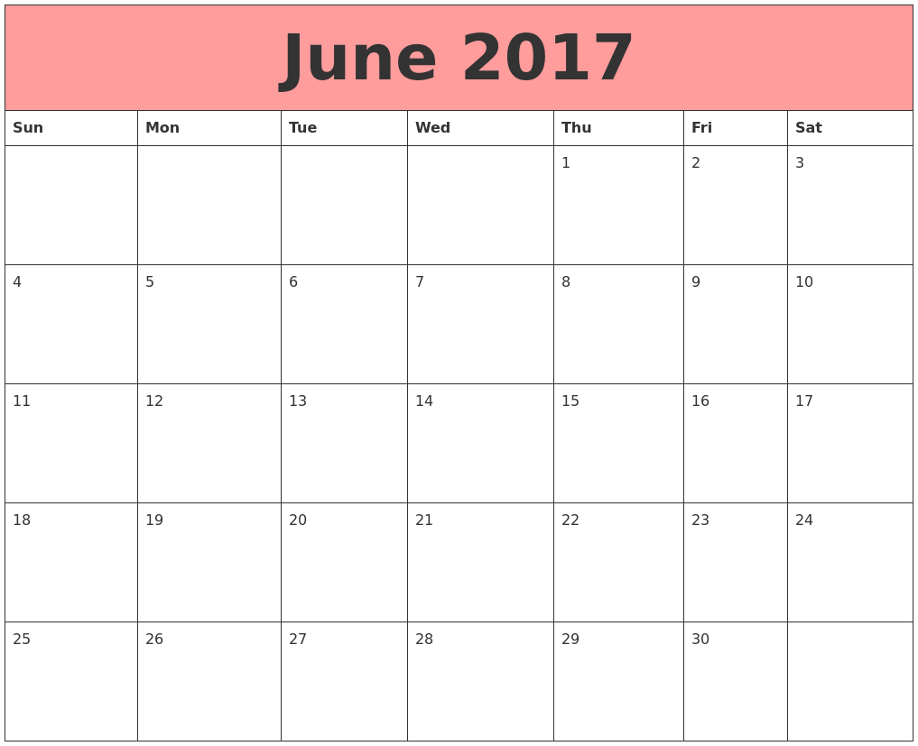 June 2017 Calendar Template | june month | Pinterest | Printable ...