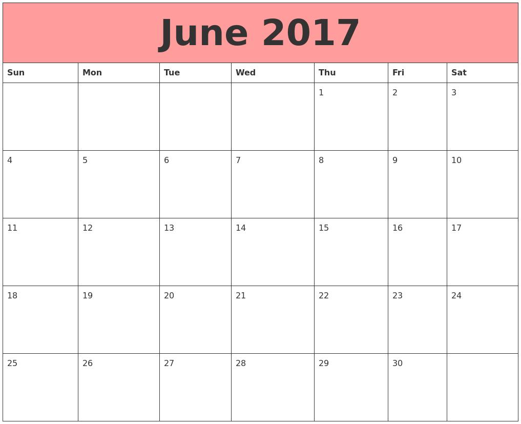 june 2017 calendar template june month pinterest calendar