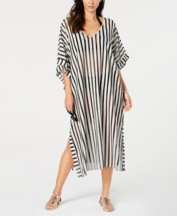 56699dfd3d Calvin Klein Striped Maxi Caftan Cover-Up - Black | Products in 2019 ...