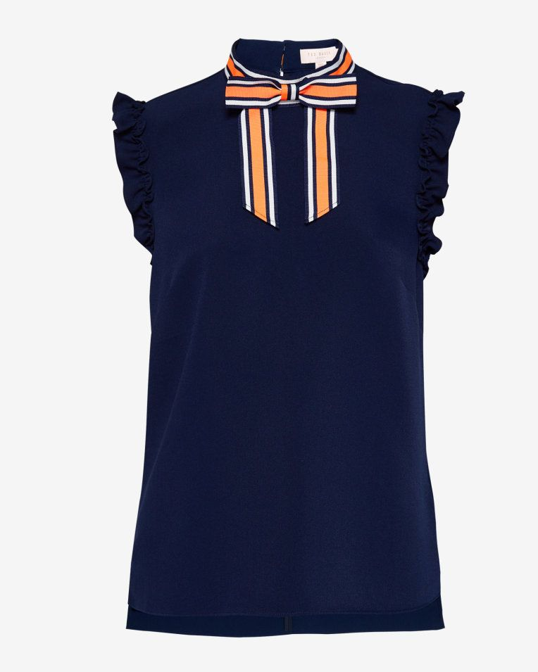 184abd951 Bow trim frill sleeved top - Navy