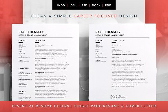 Essential Resume  Ralph By Bilmaw Creative On Creativemarket