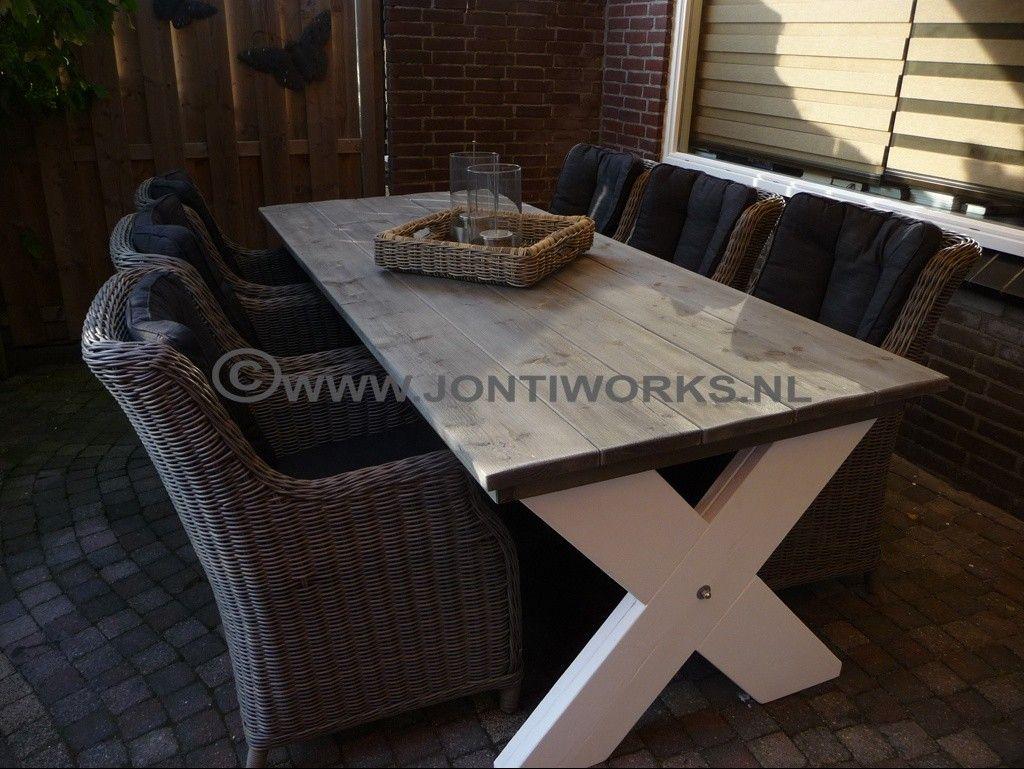 Fraaie steigerhout tuintafel strak design met een for Steigerhout tuintafel