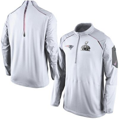 914438883 Men s Nike White New England Patriots Super Bowl XLIX Champions Hybrid Media  Day Half Zip Jacket
