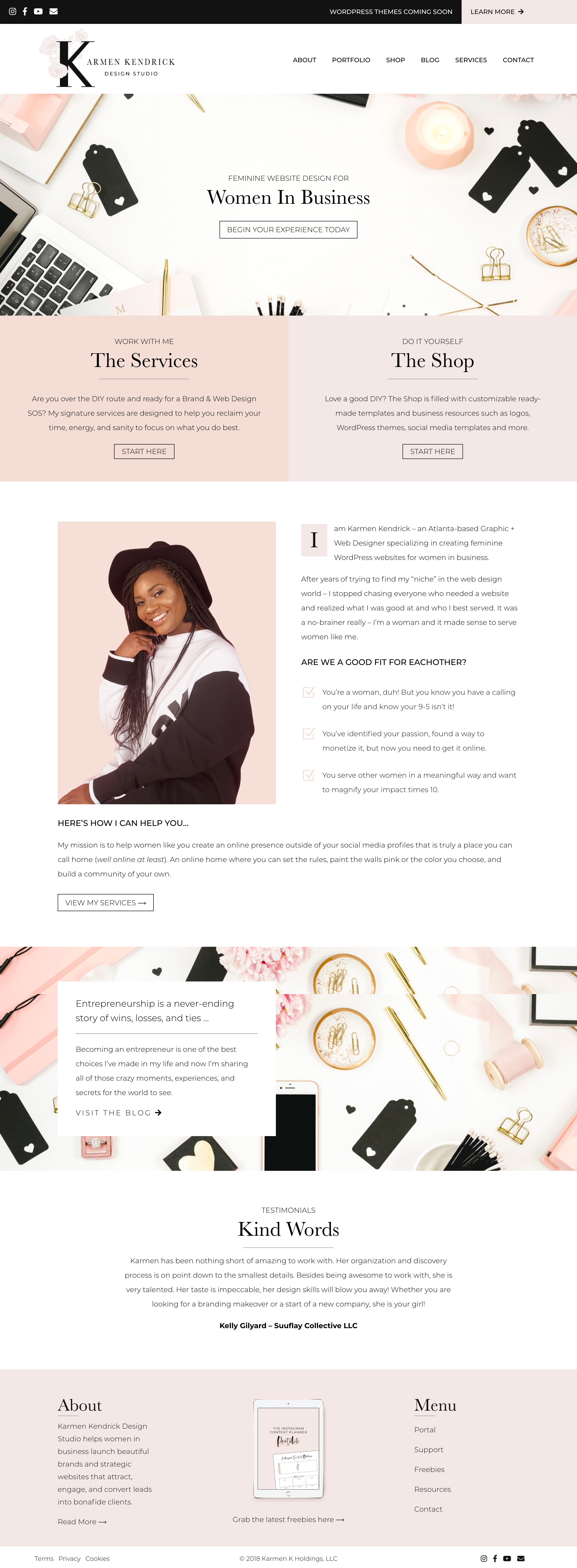 Website Home Page Redesign For Karmen Kendrick Design Studio Karmen Is An Atlanta Based Graphic Wordpress Website Design Web Design Tips Web Design Services
