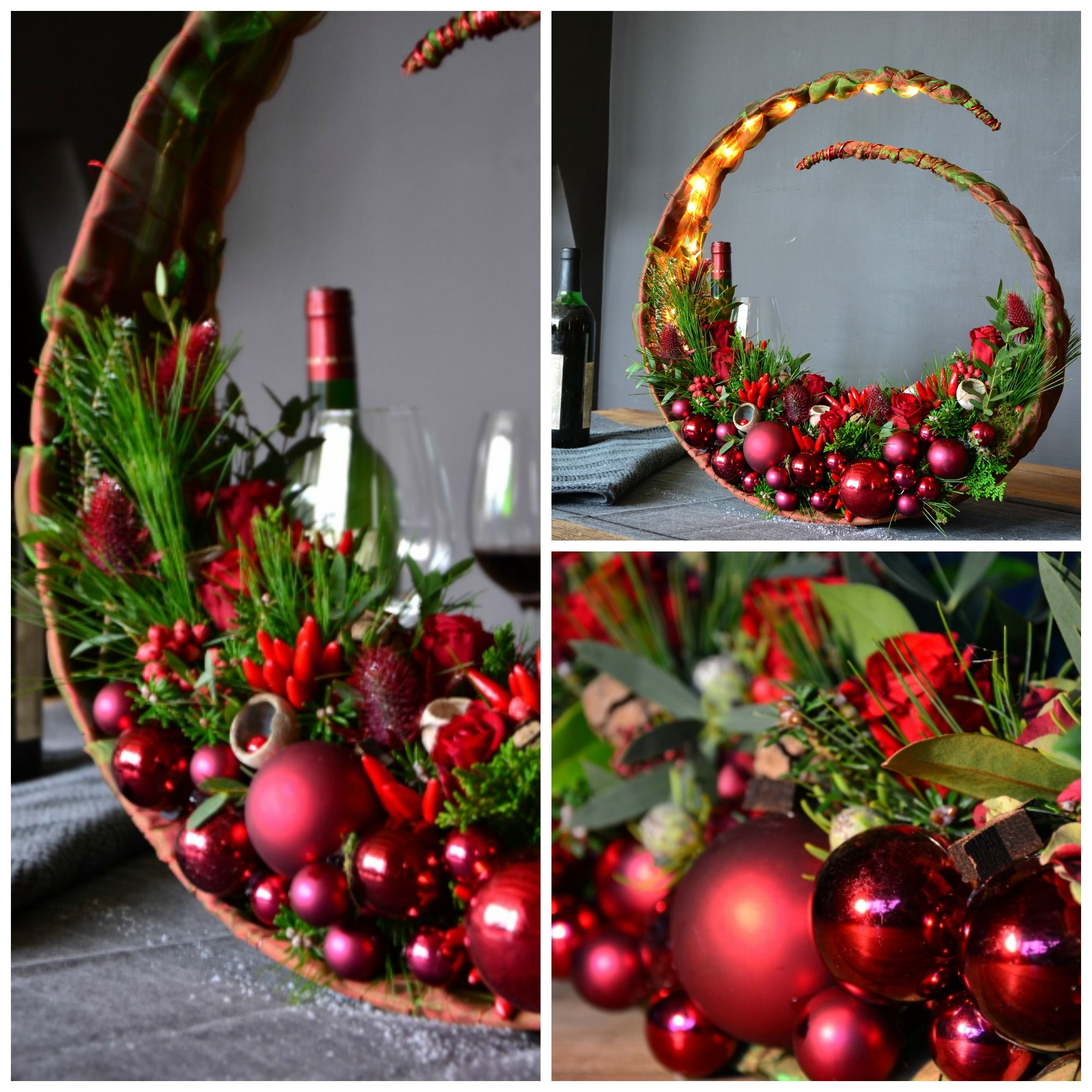 Abstract Contemporary Christmas Floral Design Decoration
