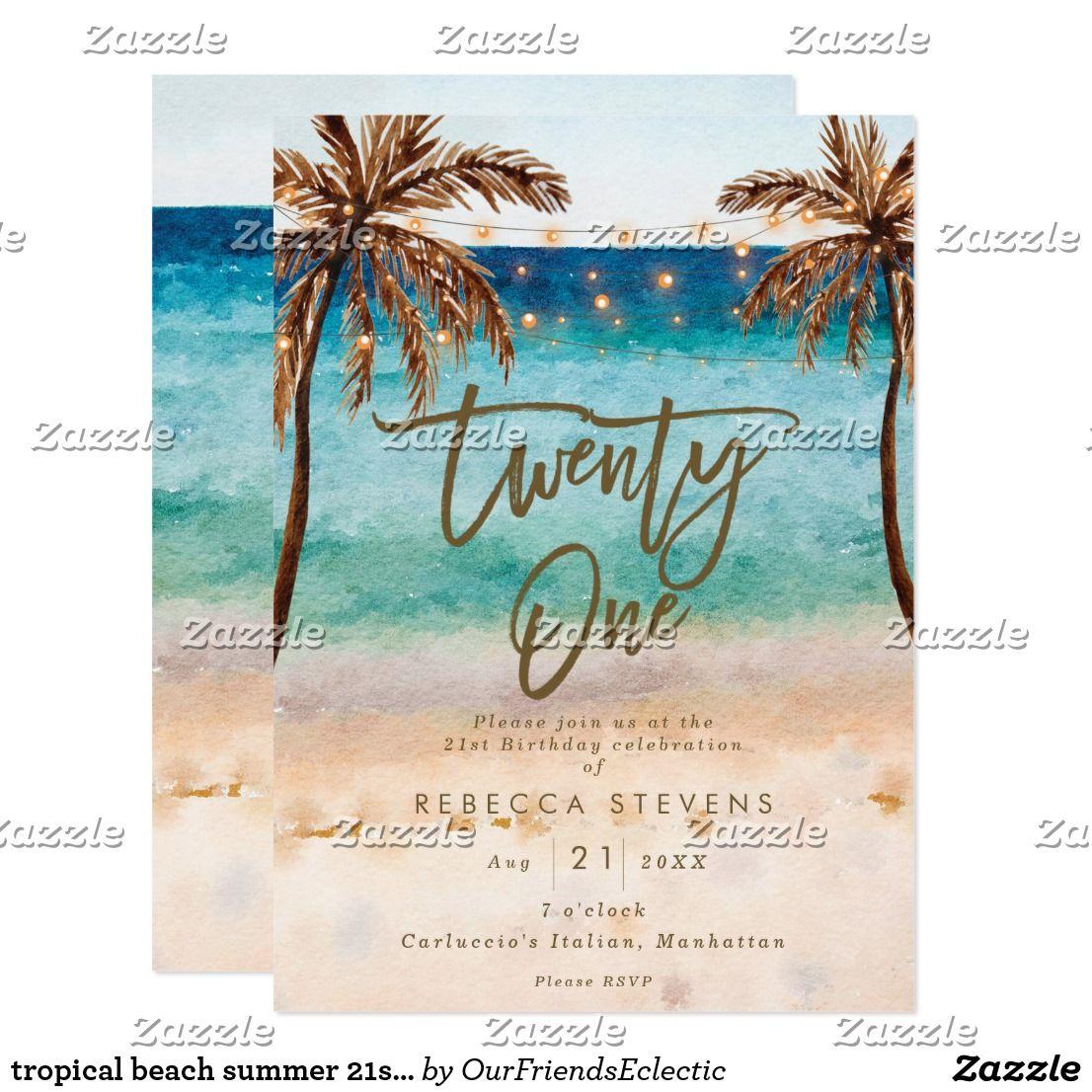 Painted Tropical Destination Island Sea Palm Tree Wedding Invitation and RSVP Postcard Suite  Deposit Beach Bliss