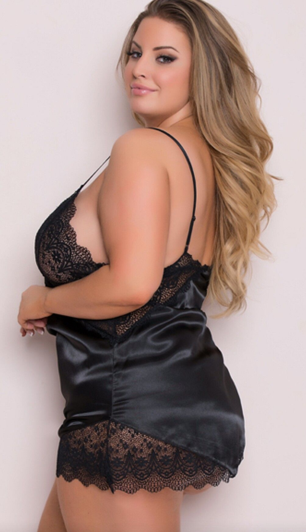 32ab41070ee Ashley Alexiss Side Pose in Lingerie Slip Sexy Breasts Tease and Upper  Thigh-Legs!