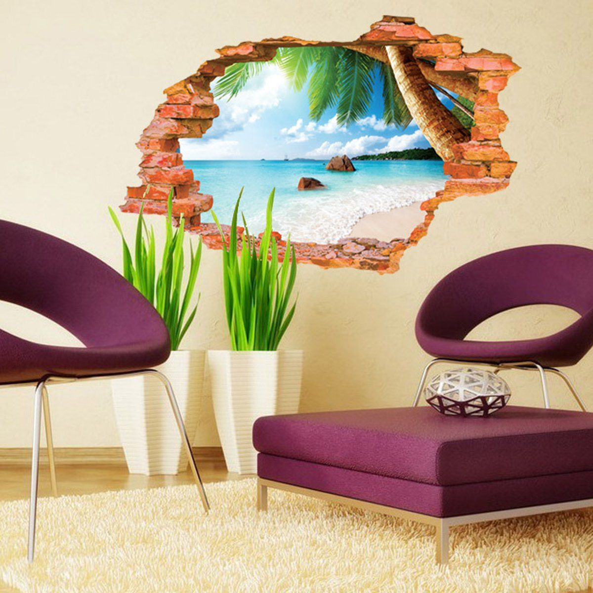 D Beach Style Creative Wall Sticker Removable Wallpaper Water - Wall decals like wallpaper