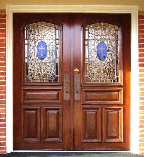 Custom Church 1-Lite Leaded Glass Doors Wood Entry In 2020