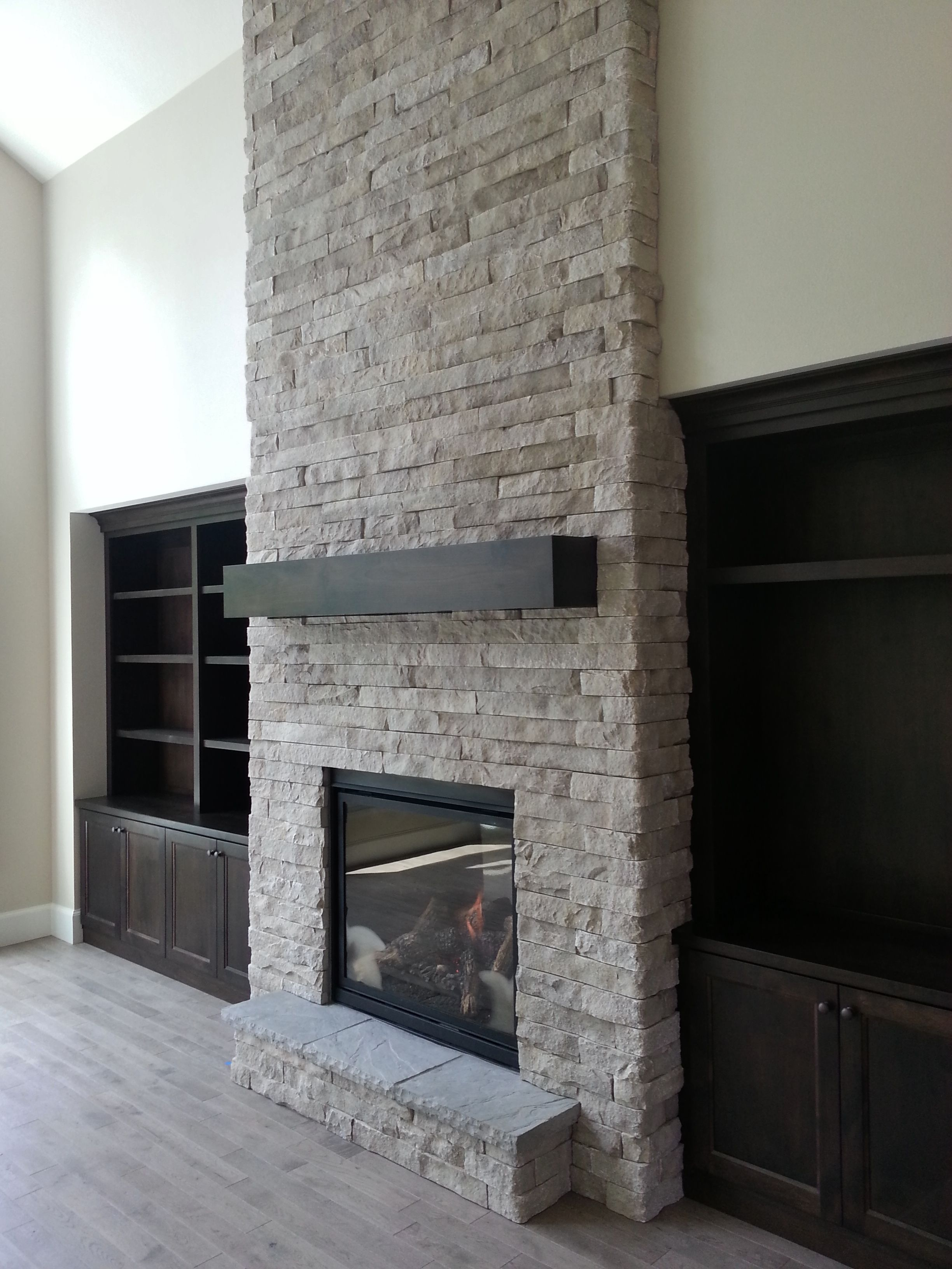 New Construction Indoor Fireplace Stone Fireplace Built