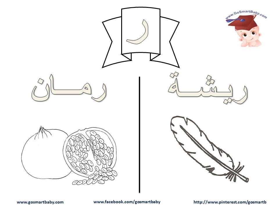 تلوين الحروف العربية حرف الراء ر Learn Arabic Alphabet Arabic Alphabet Lettering Alphabet