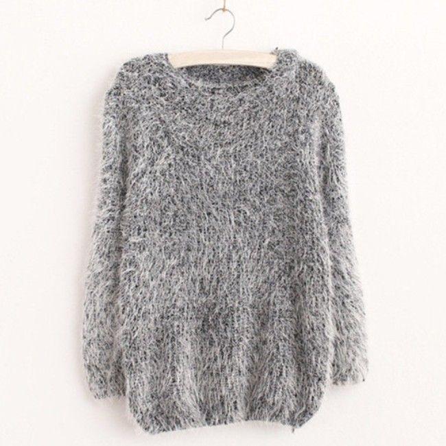 여성 패션 가을 겨울 따뜻한 모헤어 O-목 여성 스웨터 긴 소매 캐주얼 느슨한 스웨터 니트 탑