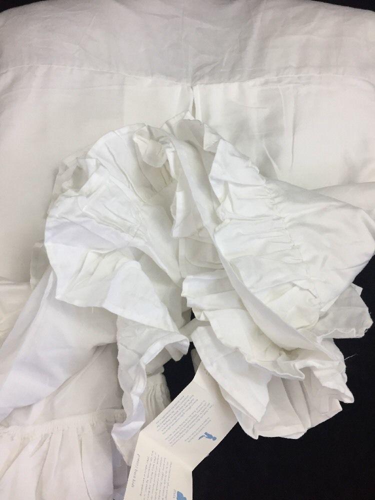 Pottery Barn Kids Crib Skirt Dust Ruffle Pleated Crisp