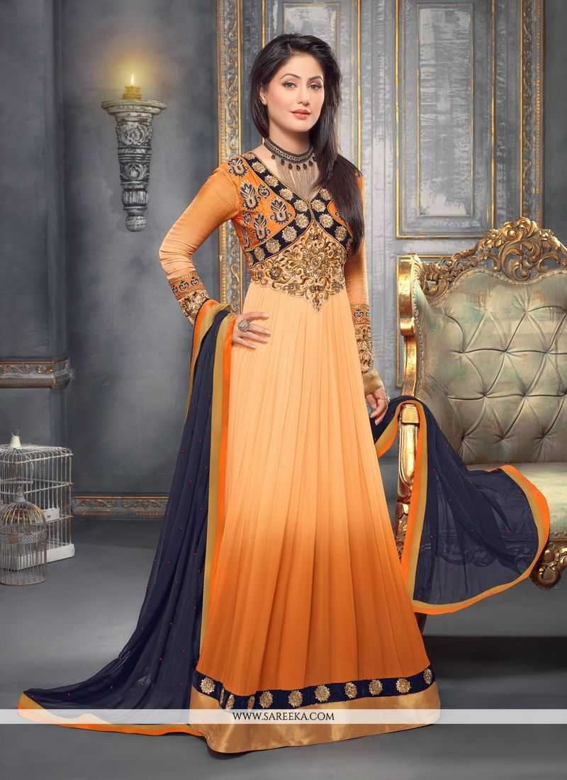 81cfdbb572 Peach and orange shaded georgette anarkali suit designed with embroidery,  zari and patch border work. Available with churidar bottom and dupatta.