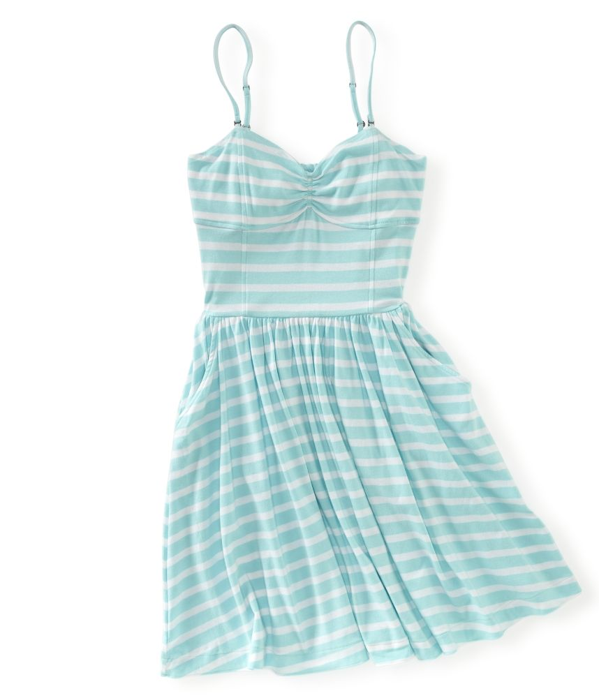Blue Striped Convertible Strapless Dress From A 233 Ropostale