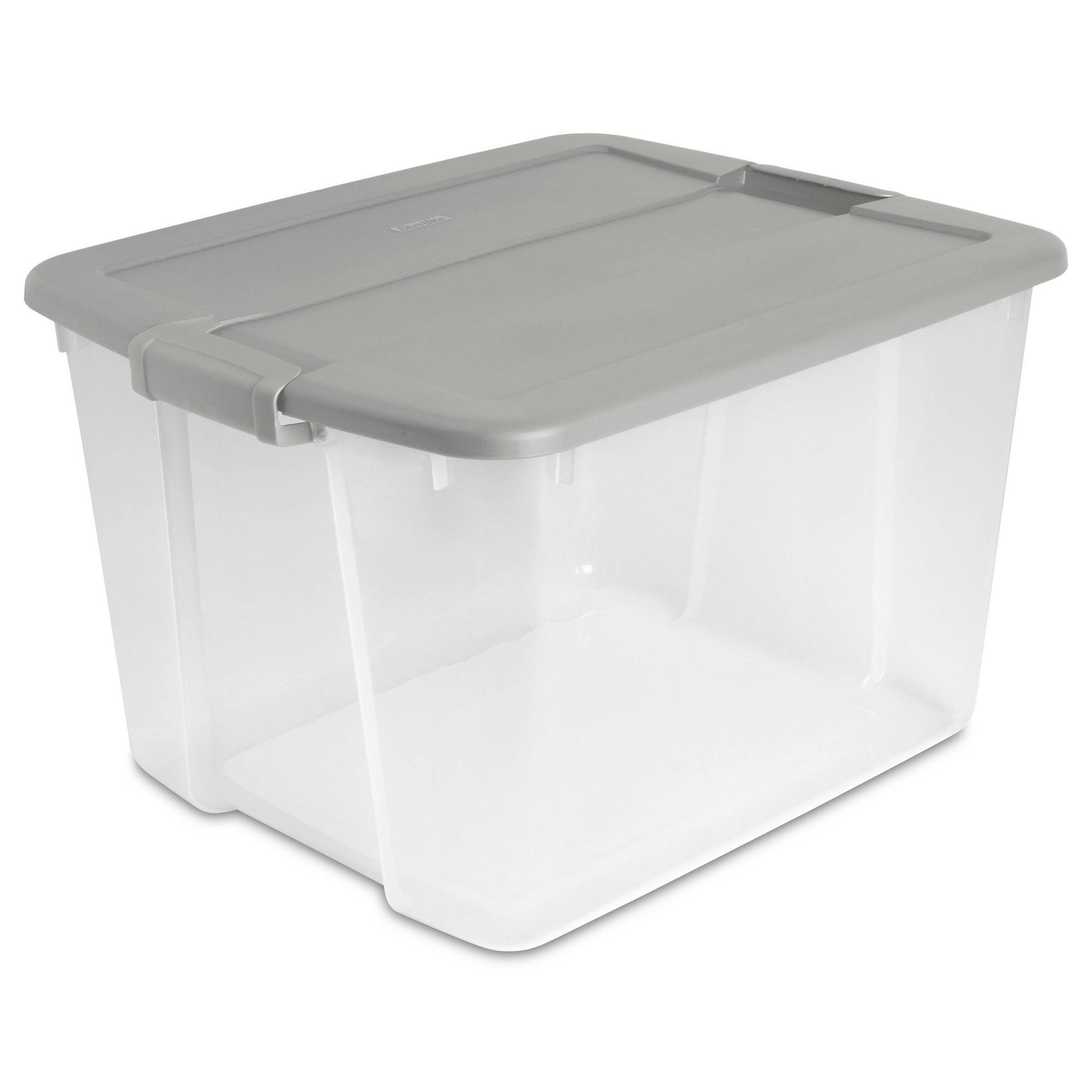 66qt Latch Box Clear With Cement Lid And Latches Room Essentials Gray Storage Tubs Room Essentials Storage Bins With Lids