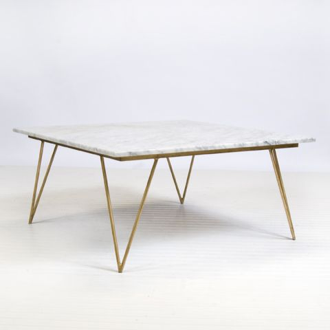 Neal Gold Leaf And White Marble Coffee Table