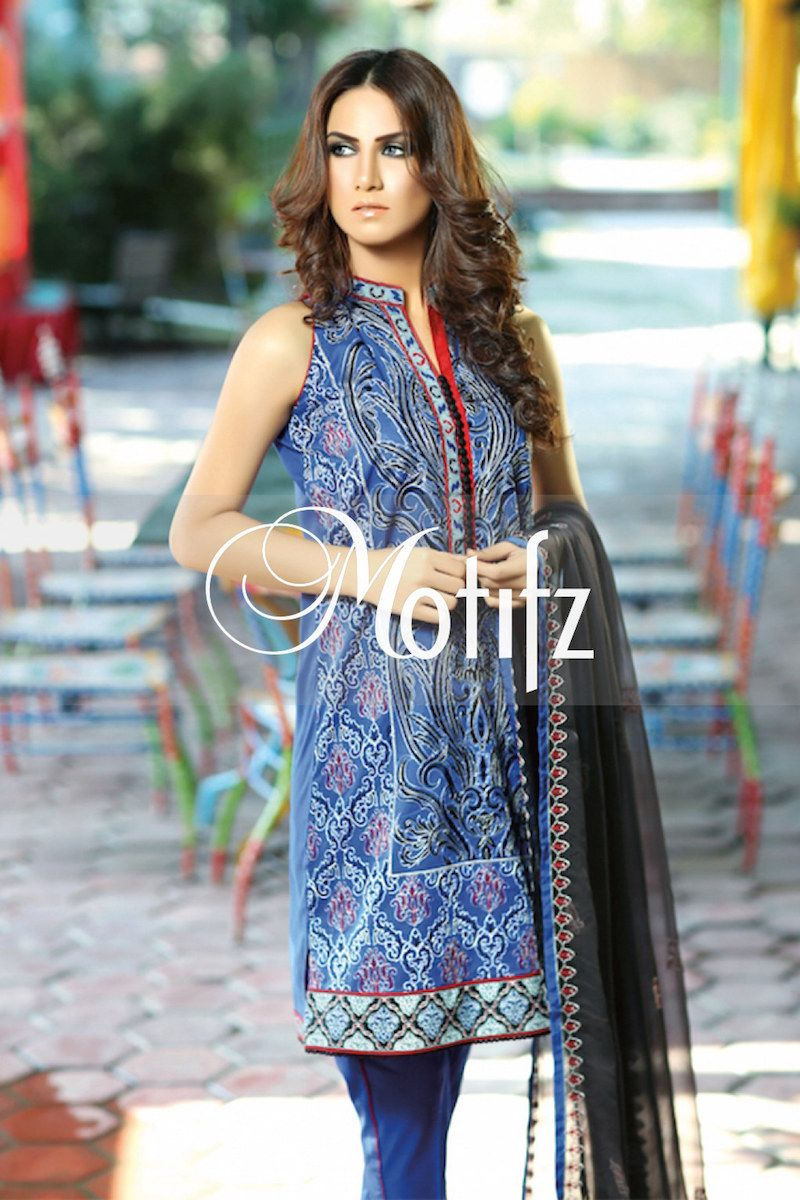 #motifzembroideredlawn #lawn #motifzlawn #motifz #brandedlawn MWU01001-999-ROYAL-BLUE Item Type: UN Stitched Three Piece, Shirt Fabric: Lawn, Includes: Front, Back, Sleeves, Crinkle Embroidered Dupatta, Pure Cotton Trouser Retail Price: 4,990