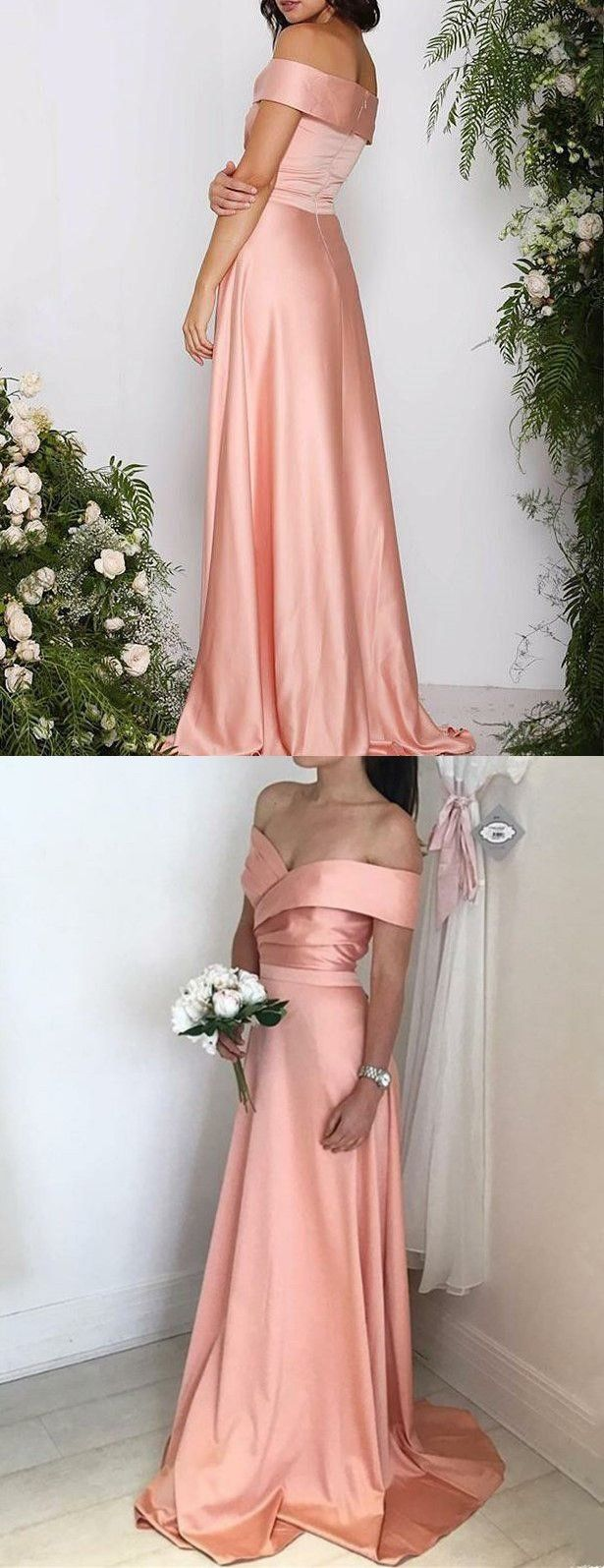 ALine Off the Shoulder Coral Stretch Satin Bridesmaid Dress in