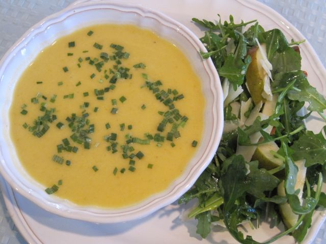 Butternut Squash Soup, Arugula Salad with Manchego and Pears
