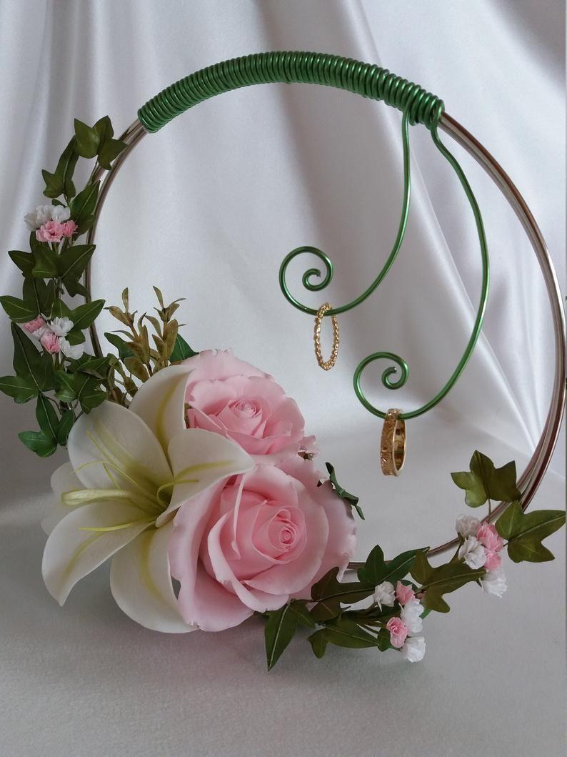 Wedding Ring Holder Flower Ring Cushion Ring Bearer Hochzeit Ringe Eheringkissen Handgemachte Hochzeit