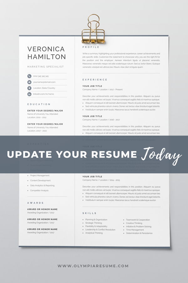 Update Your Resume Today Refresh Your Resume S Look With A Professionally Designed Resum Resume Template Professional Resume Template One Page Resume Template