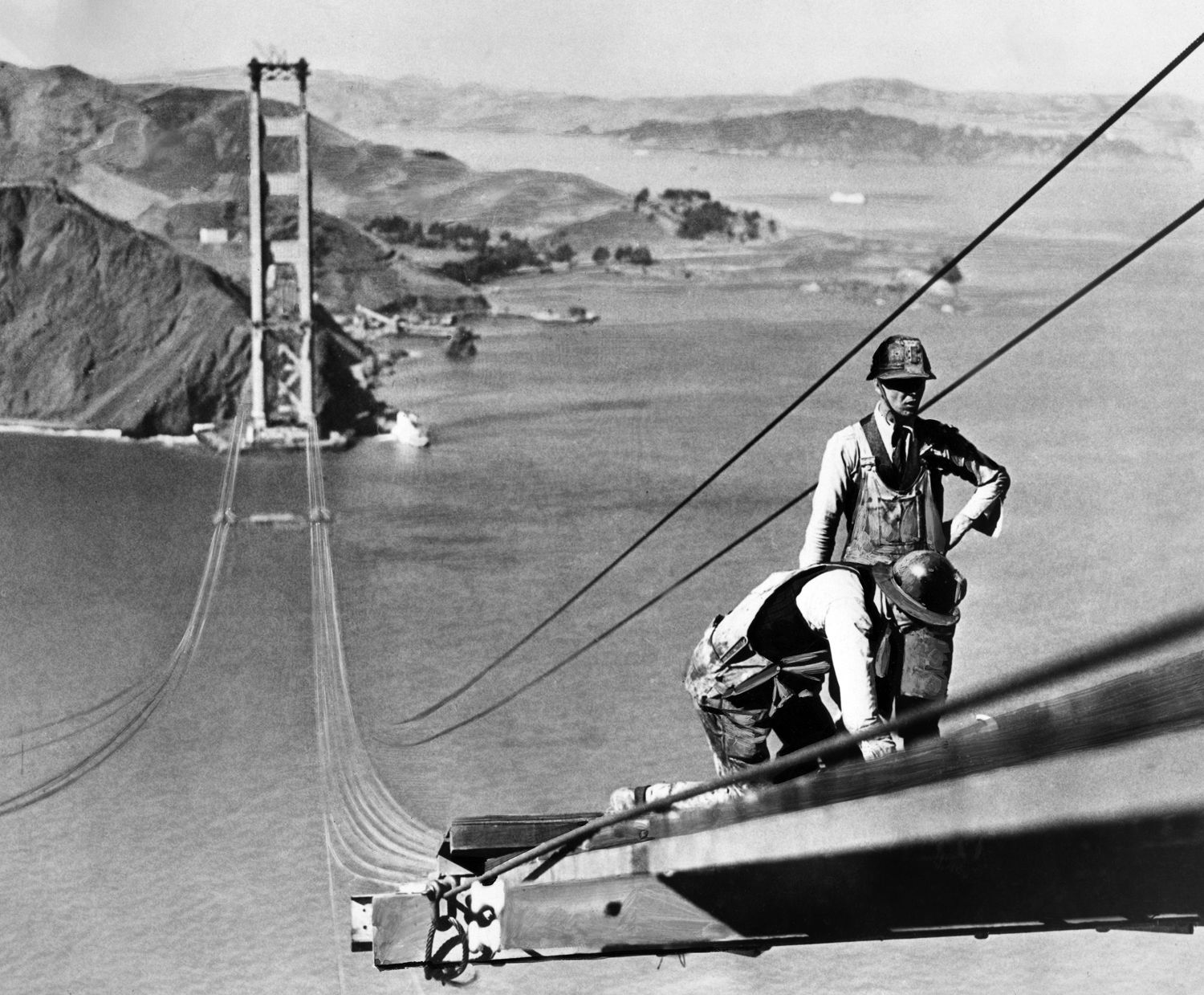 Construction Workers On The Golden Gate Bridge In San