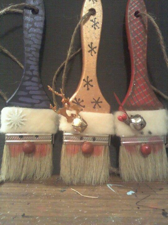 santa paintbrush ornaments or key board duster. Black Bedroom Furniture Sets. Home Design Ideas