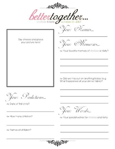 Found on Weddingbee cute ideas for guest book pages – Guest Book Template