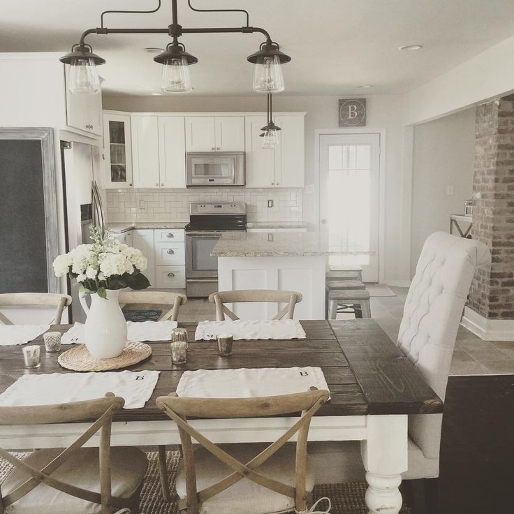 Rustic Modern Farmhouse With Farmhouse Table With A Wood Top And White  Cabinets