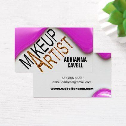Pink Liquid Makeup With Glitter MUA Business Card