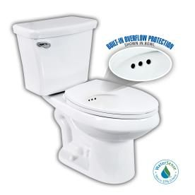 Penguin Toilets White 1 28 Gpf High Efficiency Watersense Elongated 2 Piece Toilet With Overflow Protection Water Sense Smart Toilet Lowes Home Improvements