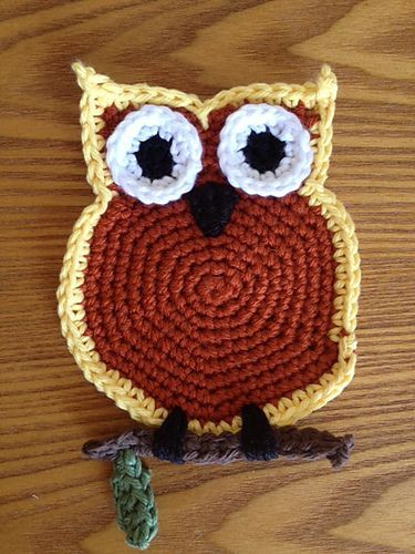 free Owl Coaster pattern - I\'ve used this and it took a little ...