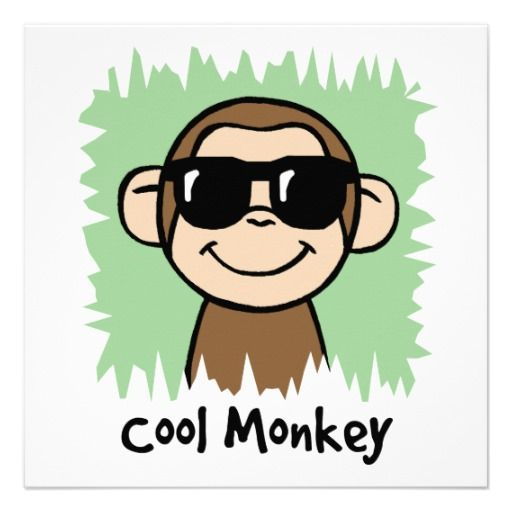 Cartoon Clip Art Cool Monkey with Sunglasses |