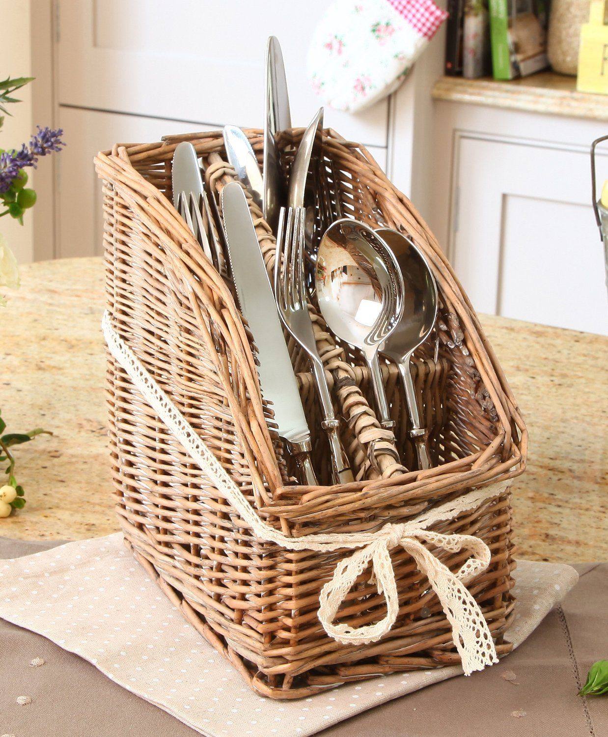 Country Wicker 4 Section Cutlery Caddy Holder Store H21 x W15cm ...