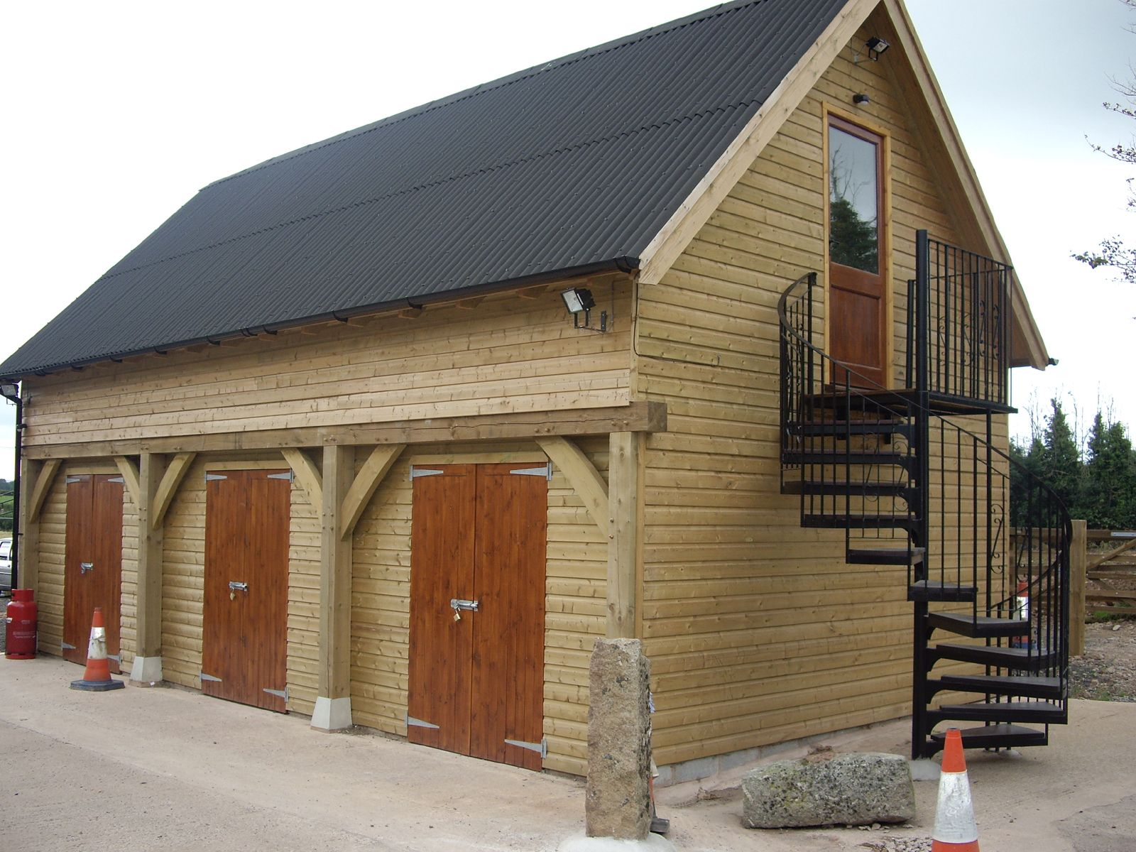 Log House Together With Wooden Garage And Original Outside