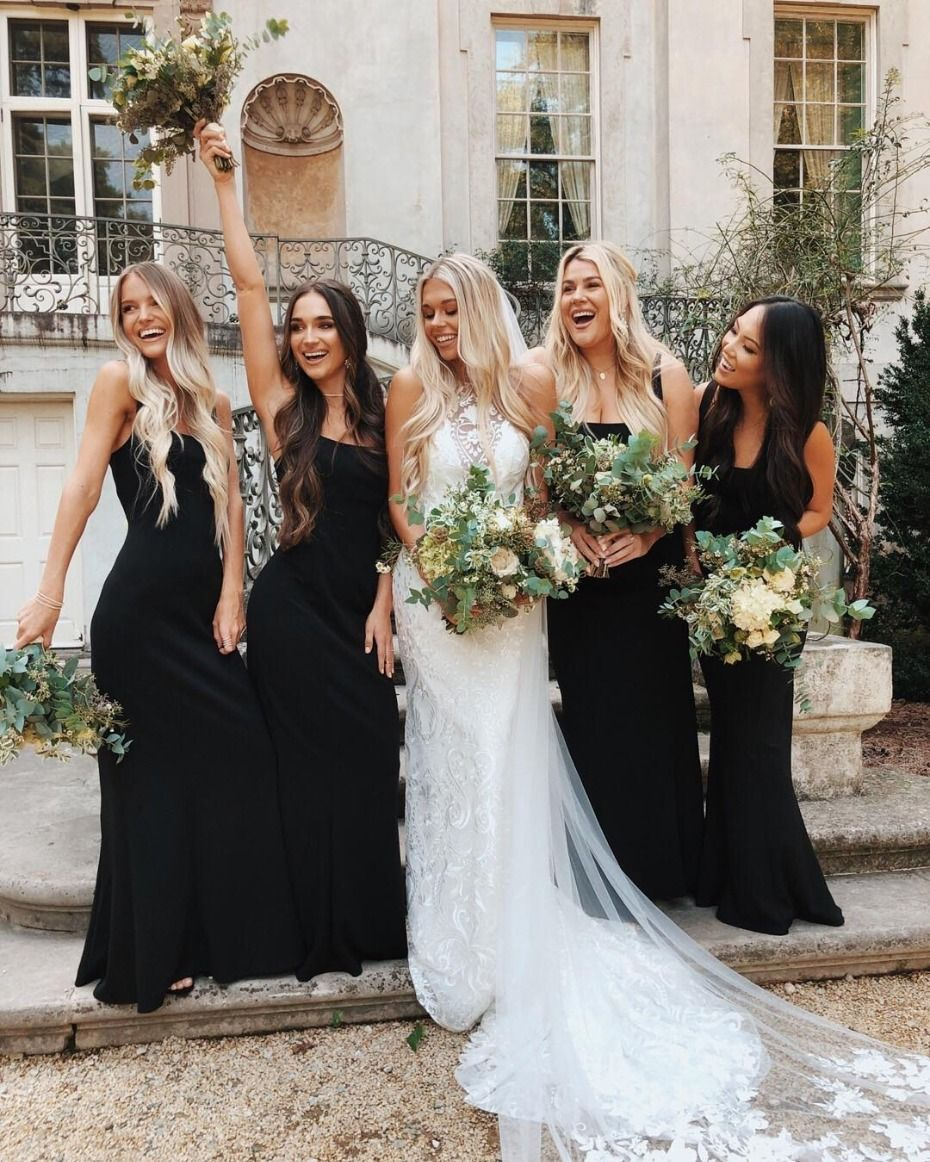 9 Times Bridesmaids Brought It Wearing Black Dresses Black Bridesmaids Black Bridesmaid Dresses Wedding Bridesmaid Dresses