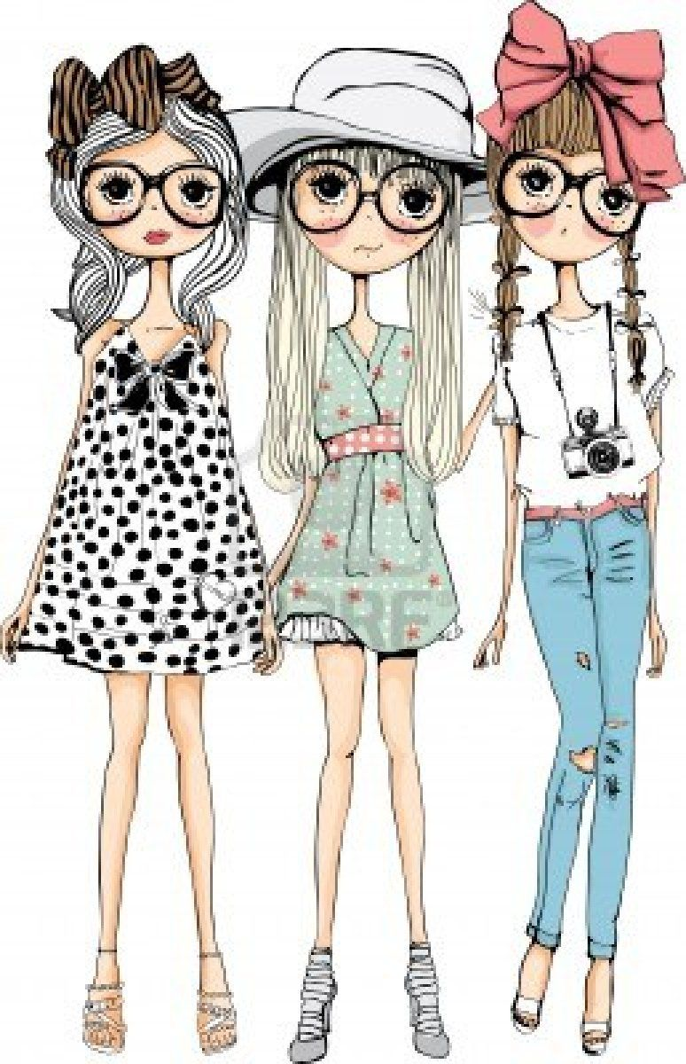 3 Girl Cartoon Characters : Illustration sketch girl collection art