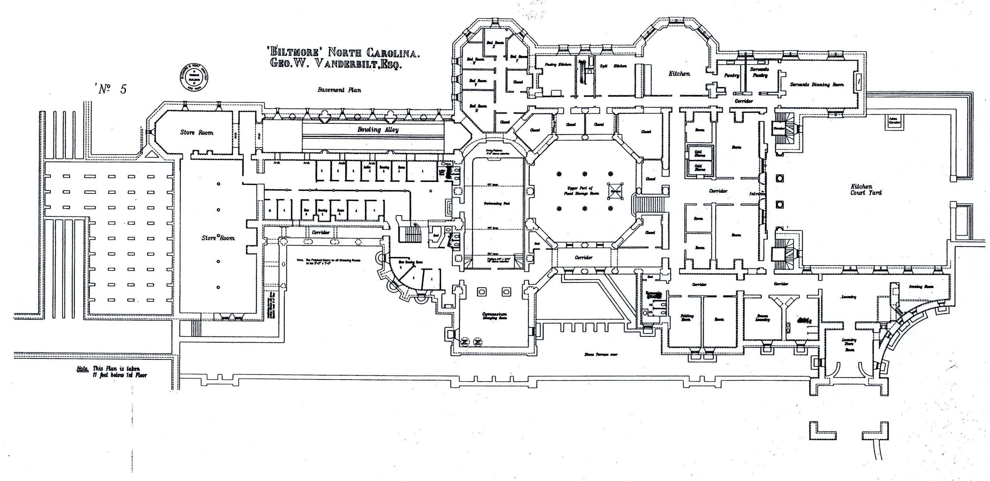 Biltmore basement floor plan with lights labeled gilded for Biltmore estate floor plan